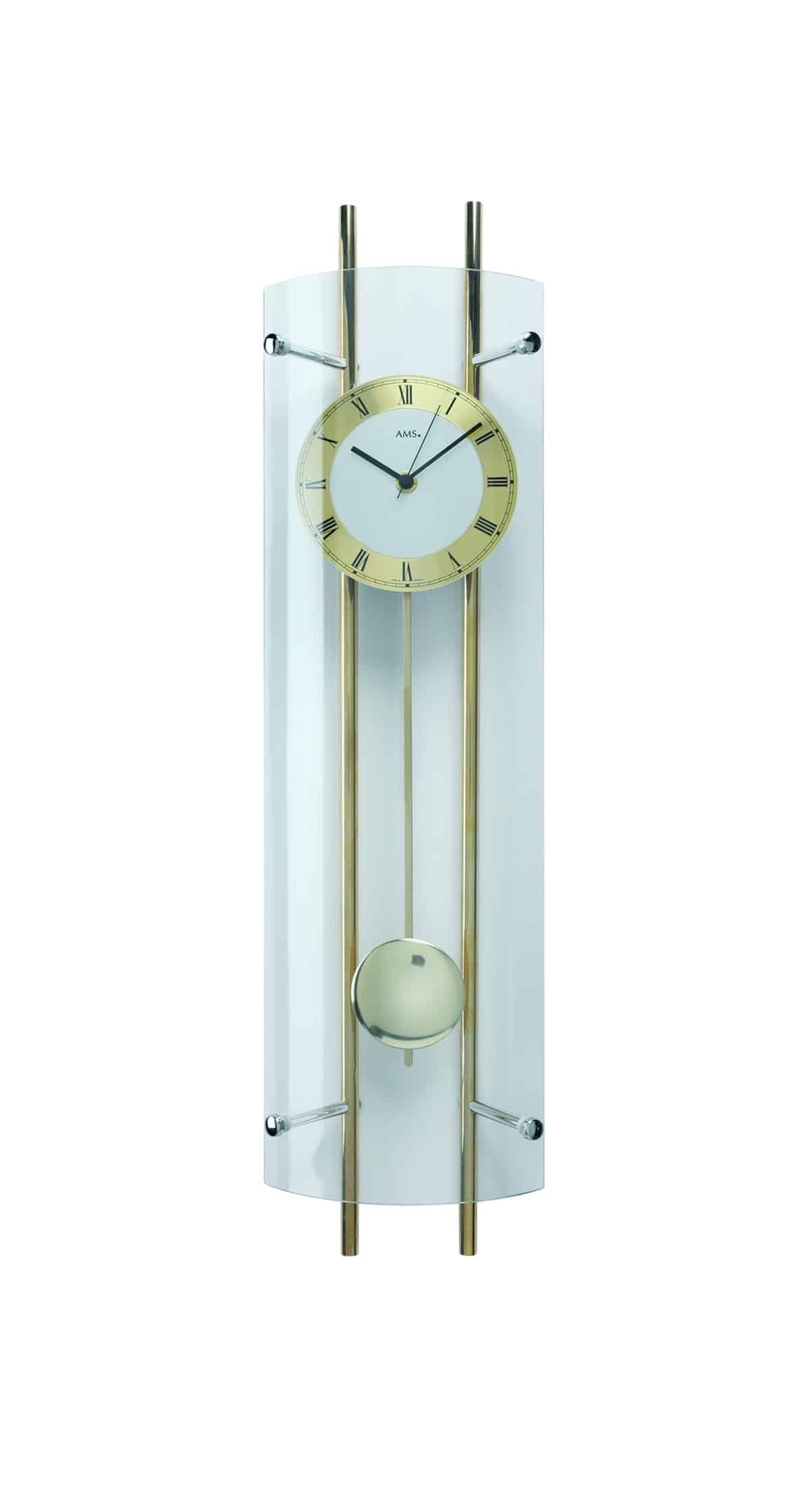 Ams 5227 curved glass wall clock ams clocks for Curved glass wall
