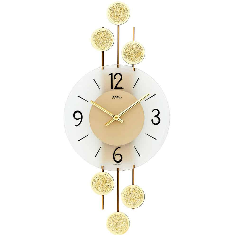 Ams 9439 Gold Colour Wall Clock Ams Clocks