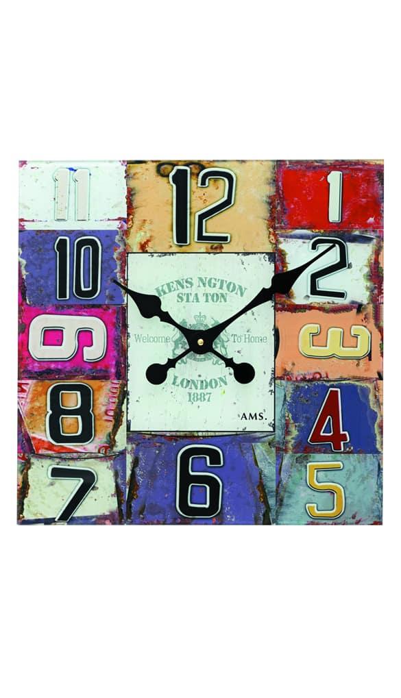 AMS 9425 Square Glass Wall Clock AMS Clocks
