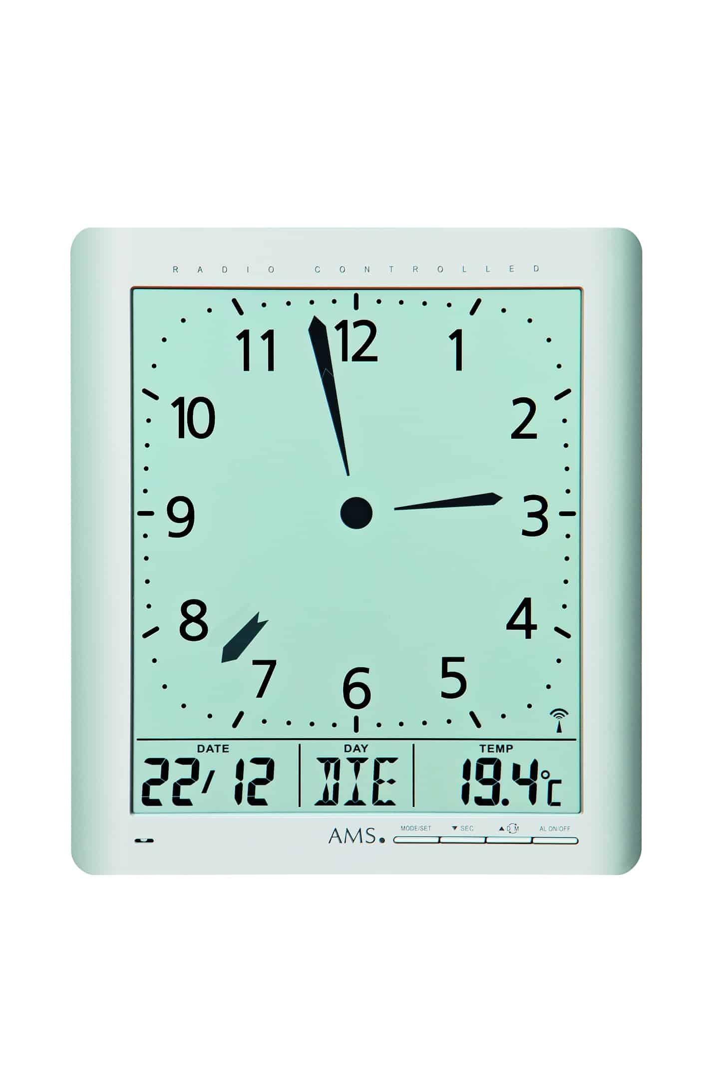 Ams F5898 Radio Controlled Wall Or Desk Clock With Digital