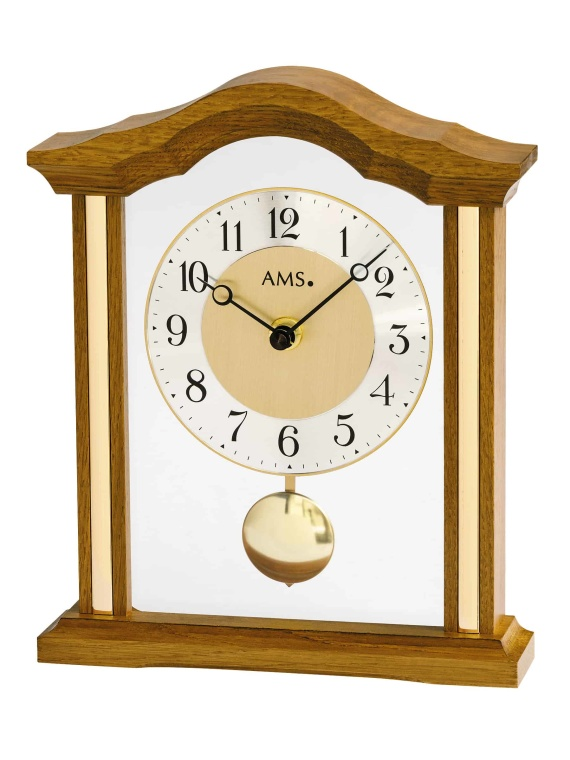 AMS T1174 4 Oak finish Mantel Clock